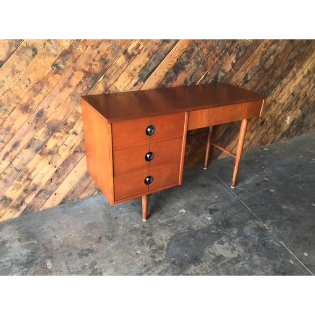 Mid Century Walnut Refinished Desk by Stanley - Image 6 of 7