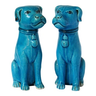 Chinese Export Porcelain Turquoise Sitting Dog Figurines - a Pair For Sale