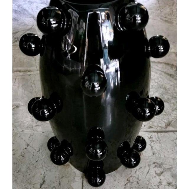 Black Polished Handmade Ceramic Sculpture Vase For Sale - Image 9 of 13