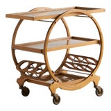 Image of 1940's French Art Deco Bar Cart For Sale
