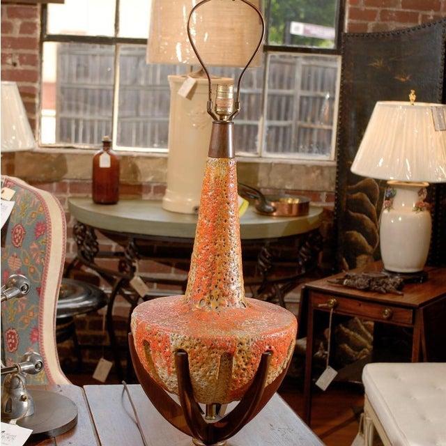 Sunset Lamps Mid-Century Orange Lava Glaze Lamp - Image 2 of 6