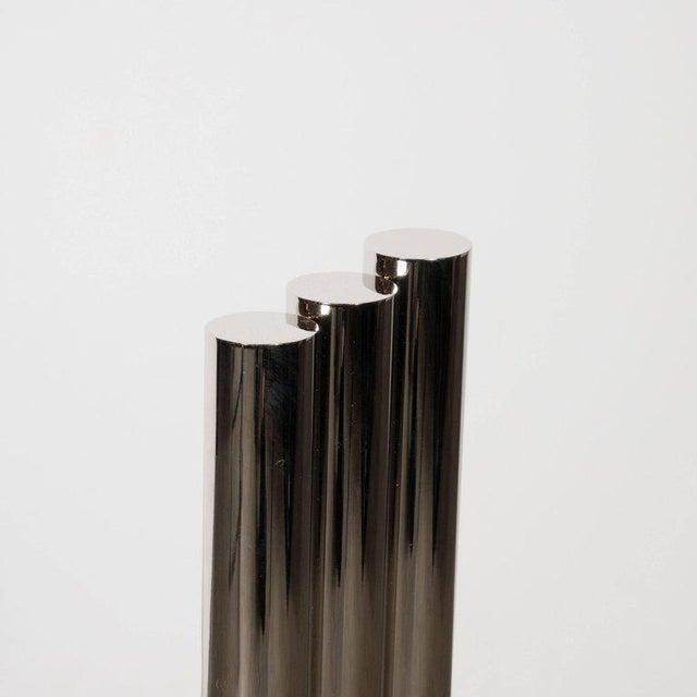 Custom Modernist Tubular Polished Nickel Andirons For Sale In New York - Image 6 of 11