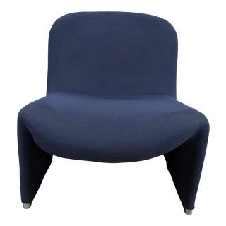 1980s Vintage Herman Miller Blue Flanel Lounge Chair For Sale