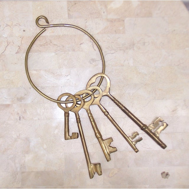 Vintage Ring of Brass Jailhouse Style Keys - Image 3 of 7