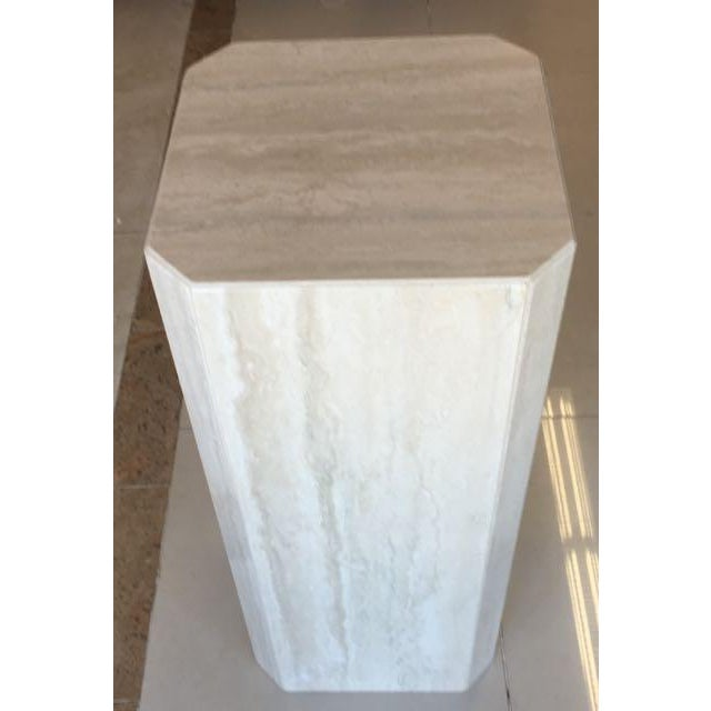 Tan Gray Travertine Marble Pedestal For Sale - Image 8 of 10