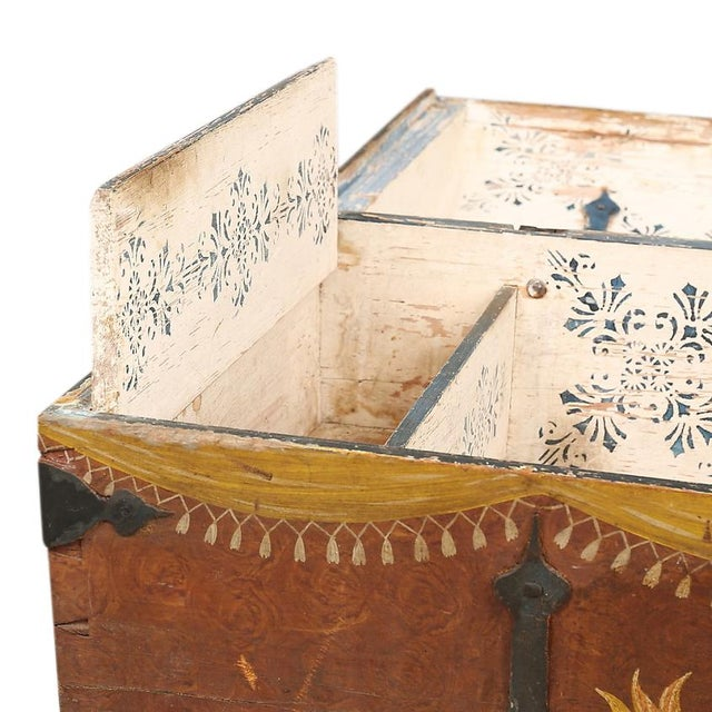 Metal Antique Swedish Painted Chest, 1845 For Sale - Image 7 of 10