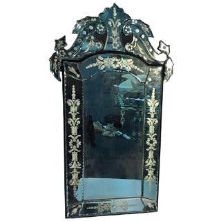 BEAUTIFUL CUT-GLASS AND ETCHED VENETIAN WALL MIRROR For Sale