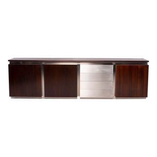 Ludovico Acerbis Mid-Century Rosewood and Stainless Steel Sideboard For Sale