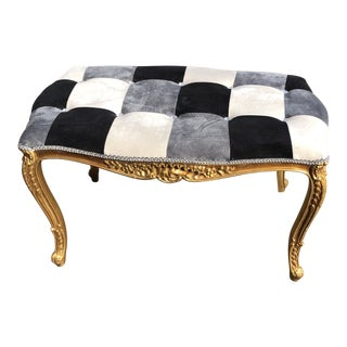 Hollywood Regency Rococo Gilded Harlequin Bench For Sale