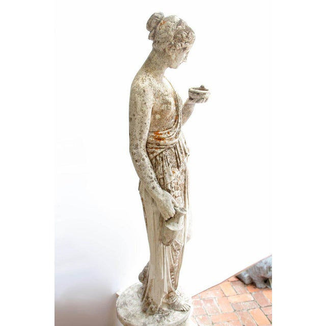 19th Century French Hand Carved Stone Female Statue For Sale - Image 9 of 13