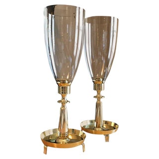 1950s Modern Tommi Parzinger for Dorlyn Silversmiths Brass Hurricane Candleholders - a Pair