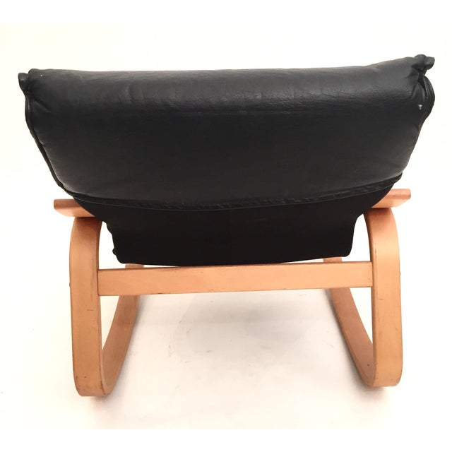 Danish Modern Black Leather Rocker - Image 4 of 4