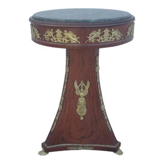 French Insert Round Mahogany Marble Top Pedestal Table With Ormolu Mounts For Sale