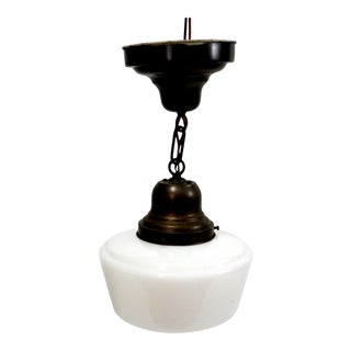 1940s Schoolhouse Pendant Light with Milk Glass Shade For Sale