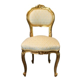 Louis XV Style Gilded Side Accent Chair For Sale
