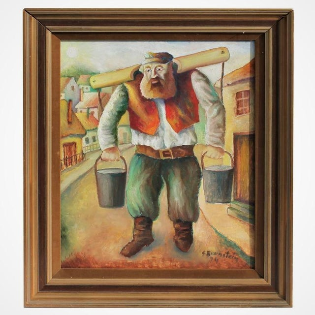 Amazing painting of Judaic farmer fetching water. This painting is signed and dated. This item has minor wear consistent...