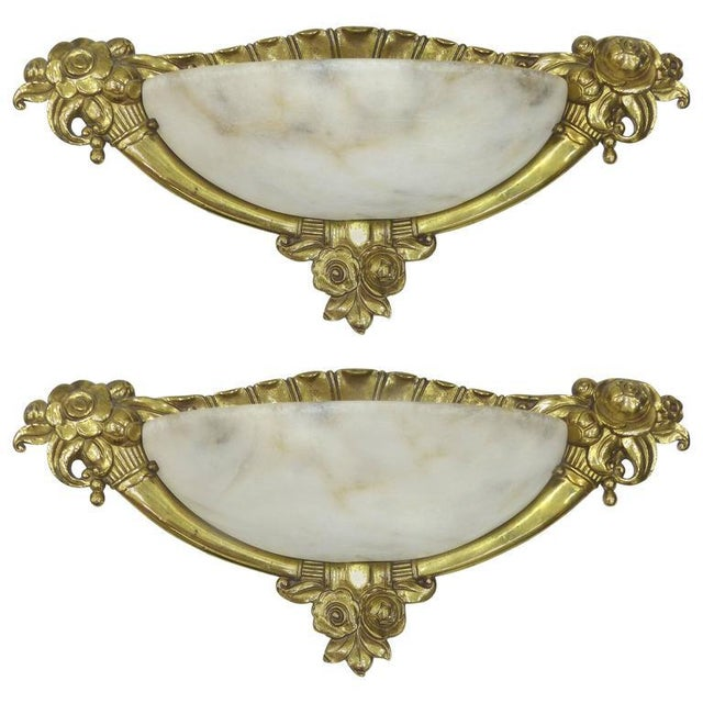 French Art Deco Bronze or Alabaster Sconces -A Pair For Sale - Image 9 of 9