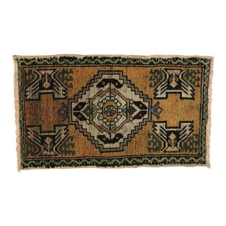 1960s Vintage Turkish Hand-Knotted Small Rug - 1′8″ × 2′8″ For Sale