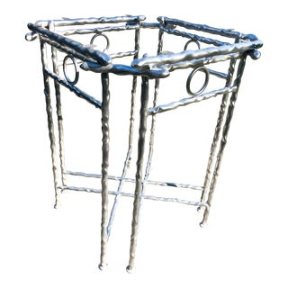 Giacometti-Style Silver Accent Table For Sale