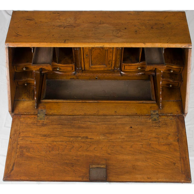 19th Century Victorian Period Light Oak Slant Front Bureau Secretary Desk For Sale - Image 12 of 13