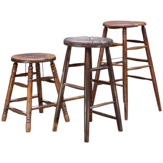 Old West Saloon Hardwood Vintage Stool Prop Table Pedestal Collection For Sale
