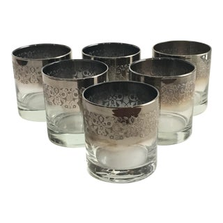 Mid Century Silver Fade Rocks Glasses - Set of 6 For Sale