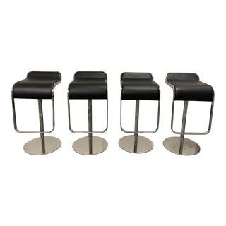 Kardiel Lem Black Leather + Chrome Barstools - Set of 4 For Sale