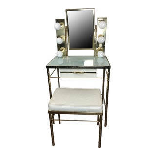 Brass Faux Bamboo Vanity with Lights & Stool - A Pair