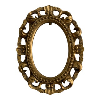 1980s Traditional Ornate Gold Oval Frame For Sale