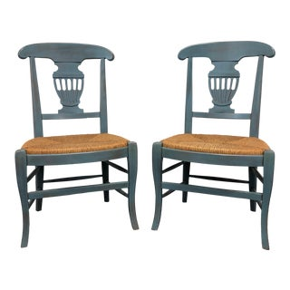 Country Cottage Shabby Chic Painted Distressed Dining Chairs - Pair 1 For Sale