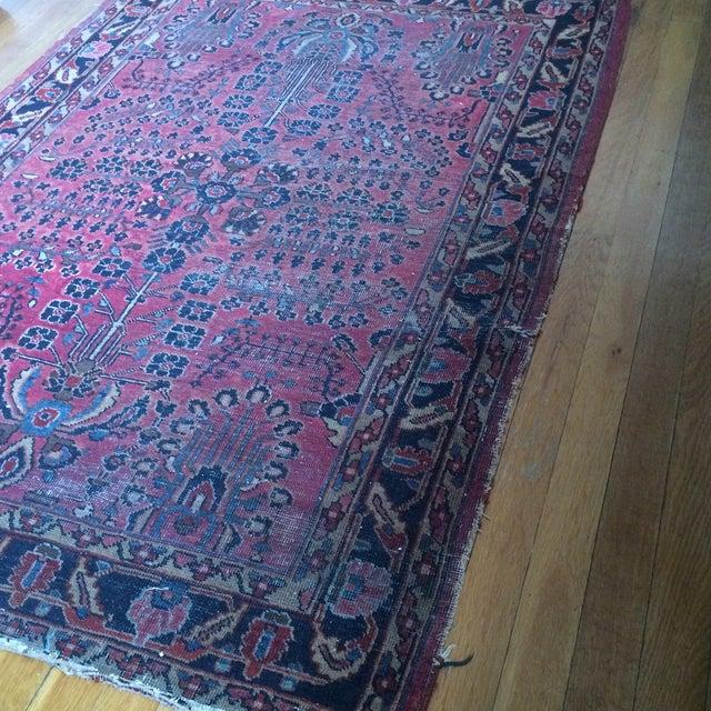 "Vintage Persian Sarouk Rug - 3'4"" X 4'10"" - Image 6 of 7"