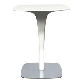 Minimalist Poltrona Frau White Leather & Chrome Side Table For Sale