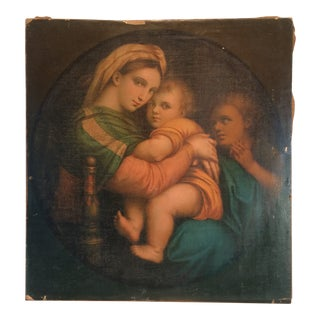 Unsigned Painting of a Late 18th Century of Raphaels 1513 Painting of Madonna Della Sedia For Sale