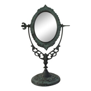Vintage Verdigris Green Vanity Mirror For Sale