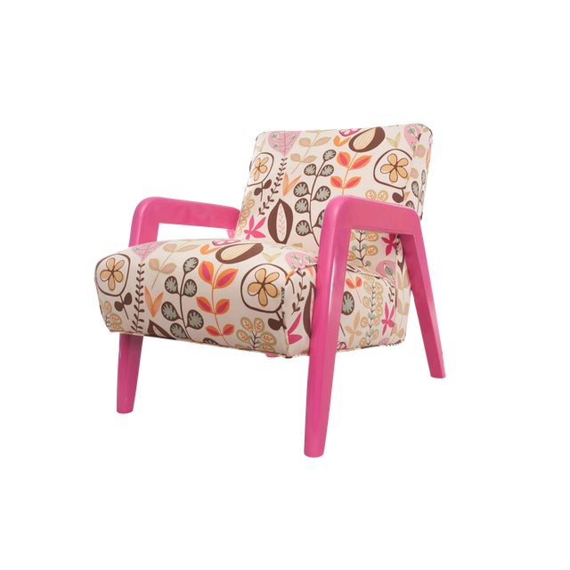 Atomic Chair in Pink Floral Pattern For Sale