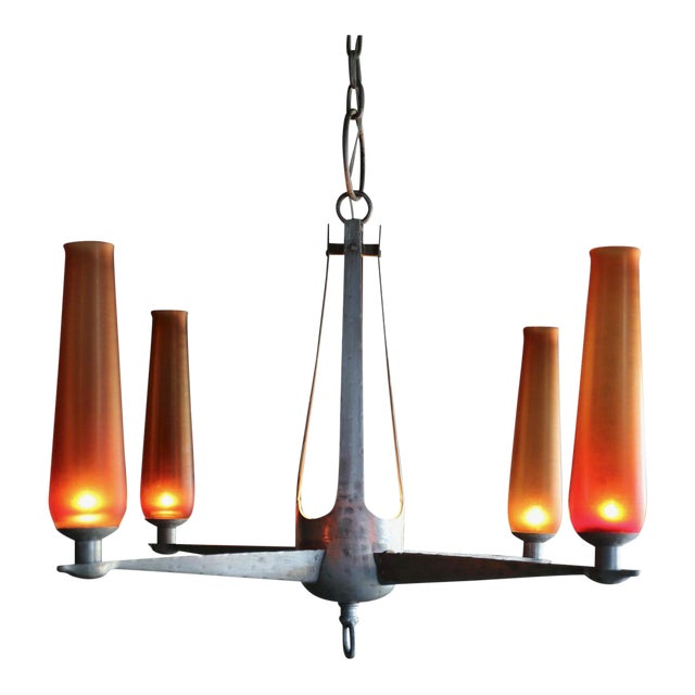 1960s Mid-Century Modern Aluminum and Venini Glass Chandelier For Sale