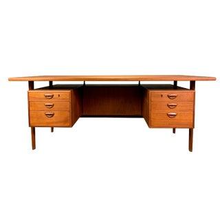 1960s Scandinavian Modern Kai Kristiansen for Feldballe's Møbelfabrik Teak Executive Desk For Sale