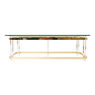 Lucite and Brass Coffee Table For Sale