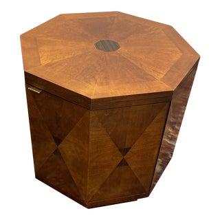 Vintage Henredon Inlaid Wood Octagon Side Table For Sale