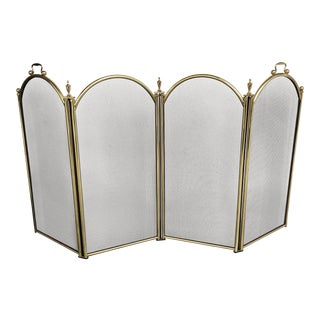 Four Panel Brass Finish Fireplace Screen For Sale