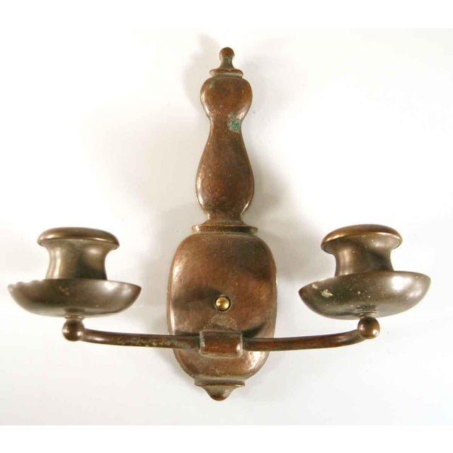Two-Arm Copper Hammered Arts & Crafts Sconces - A Pair For Sale - Image 5 of 5