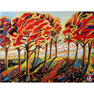 Trees in the Wind Fall Landscape Semi-Abstract Acrylic Painting by Natalia Bessonova For Sale
