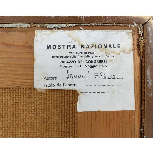 Italian 1970s Metaphysical Oils by Lauro Lessio - a Pair For Sale - Image 9 of 11