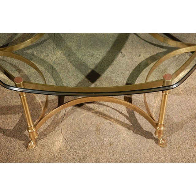 La Barge Polished Brass and Glass Octagonal Coffee Table, La Barge For Sale - Image 4 of 9