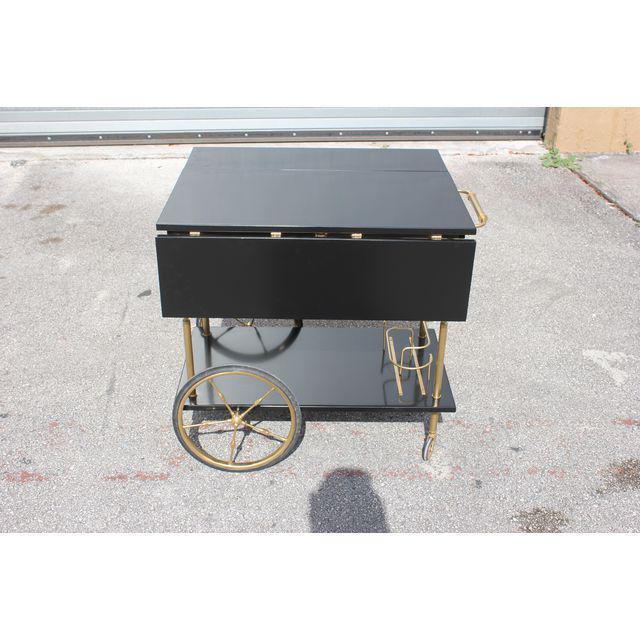 1940s Beautiful Maison Jansen Ebonized Drop-Leaf Bar Cart Circa 1940s For Sale - Image 5 of 13