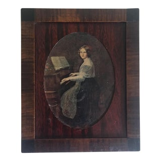 1800's Antique Wood Pianist Portrait Letter Box For Sale