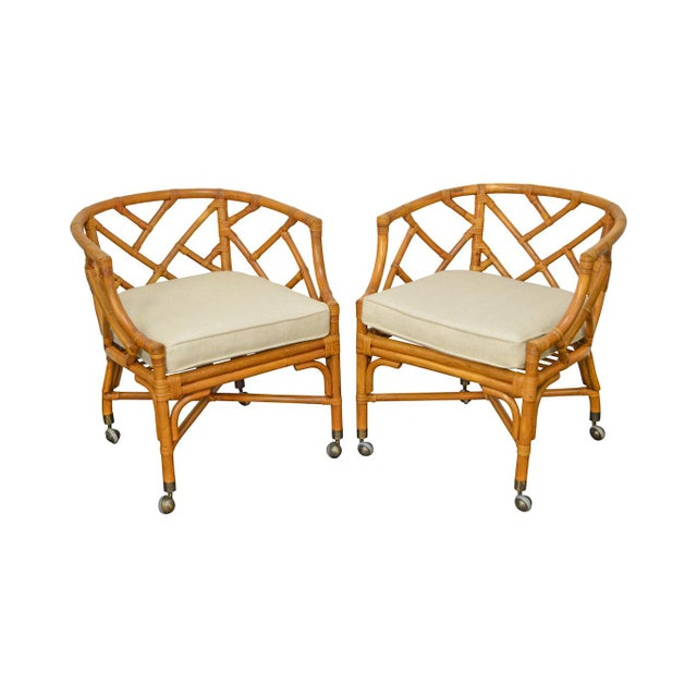 McGuire Style Rattan Bamboo Barrel Back Club Chairs - a Pair For Sale - Image 13 of 13