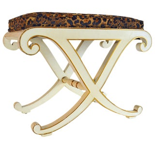 "20th Century Hollywood Regency Leopard Print Velvet Upholstered ""X"" Bench For Sale"