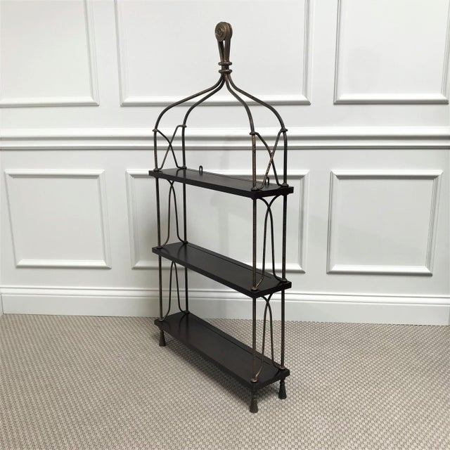 Late 20th Century Late 20th Century Vintage Modernist Gilt Metal & Mahogany Hanging Wall Shelf For Sale - Image 5 of 13