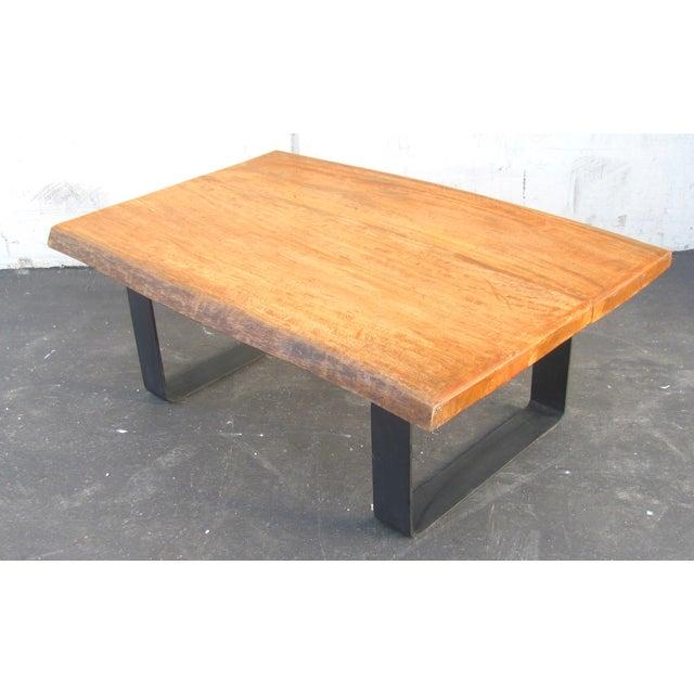 Minimalist Natural Wood Slab Coffee Table - Image 4 of 6